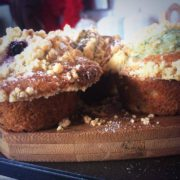 blueberry and pear crumble muffin